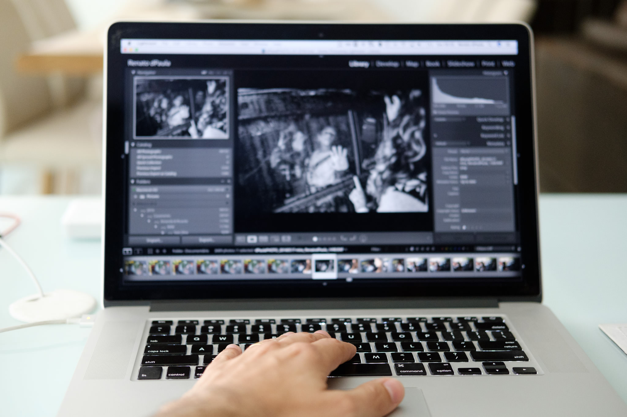 tratando fotos usando o teclado